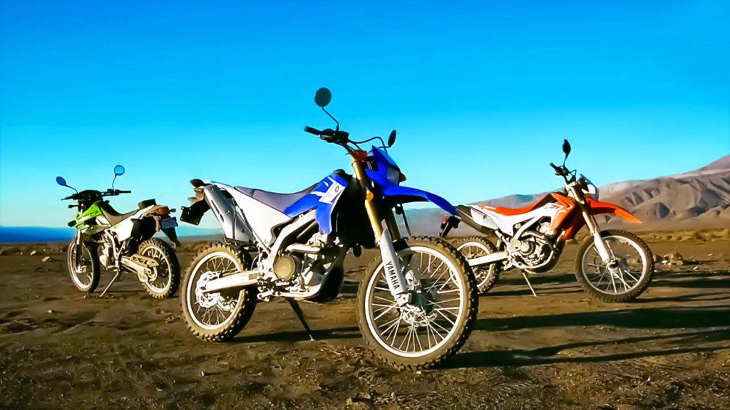 Yamaha WR250R, Kawasaki KLX250S и Honda CRF250L